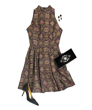 Sleeveless gold and black brocade dress with accessories