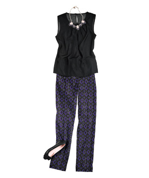 Black sleeveless top with brocade pants and accessories