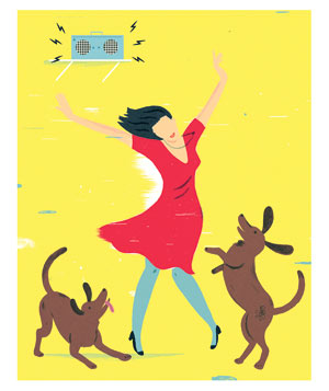 Illustration of woman dancing to music with dogs