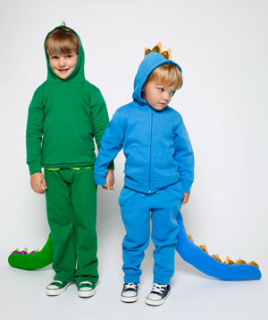 Two kids in homemade dragon costumes