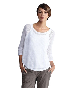 Eileen Fisher Jewel Neck 3/4-Sleeve Box Top Fine Gauge Linen Ridged Stitch