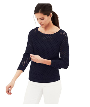 Loft Scalloped Neck Cotton Sweater