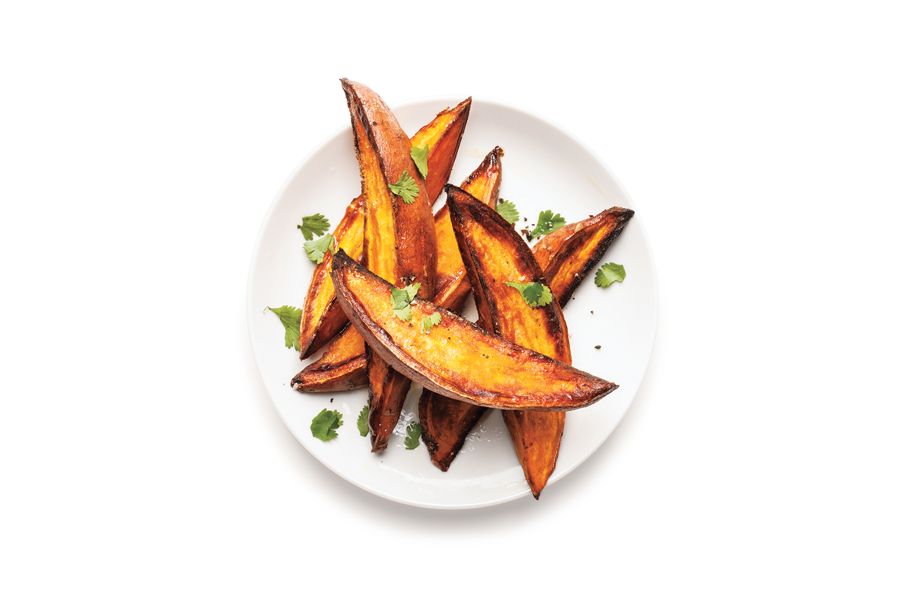 Crispy Roasted Sweet Potatoes With Lime and Cilantro
