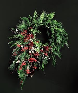Berry cascade on a standard wreath