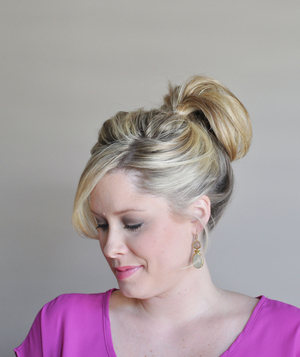 Perfect bun hairstyle step 1