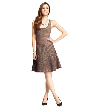 Ann Taylor Metallic Flounce Sweater Dress