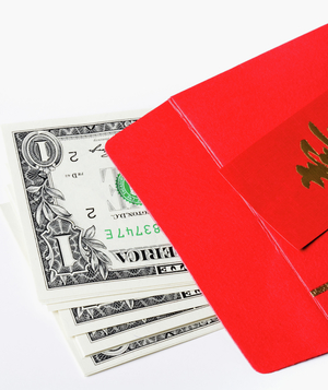Holiday gift or tip money in envelope