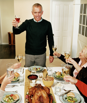 Man giving holiday toast