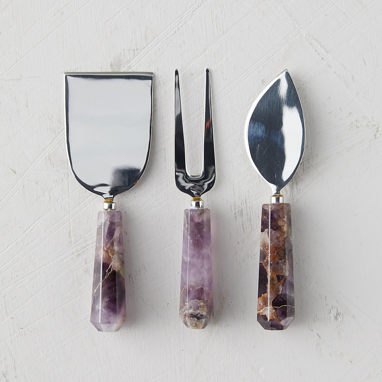 Gifts for Foodies: Amethyst Handle Cheese Knife Set at Terrain