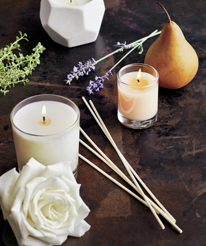 Candles, diffusers, pear, rose, herbs