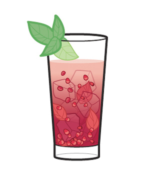 Pomegranate seeds in a cocktail