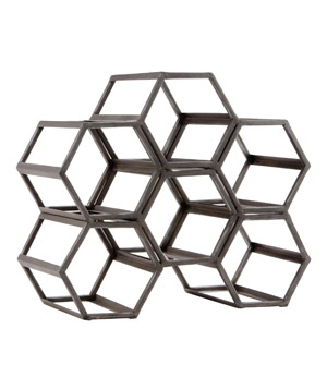 Black Hexagonal Wine Rack