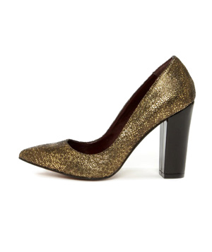 Report Signature Murphy Gold Snakeskin Chunky Heels