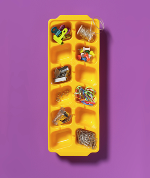 Ice Cube Tray as Office Supply Organizer