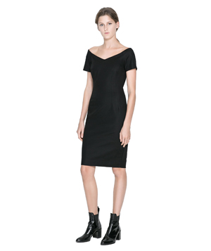 Zara v neck black dress