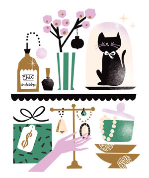 Illo: pretty display shelf