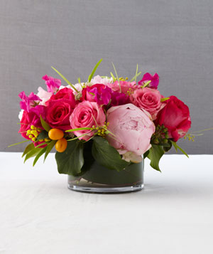 Rose and peony floral centerpiece