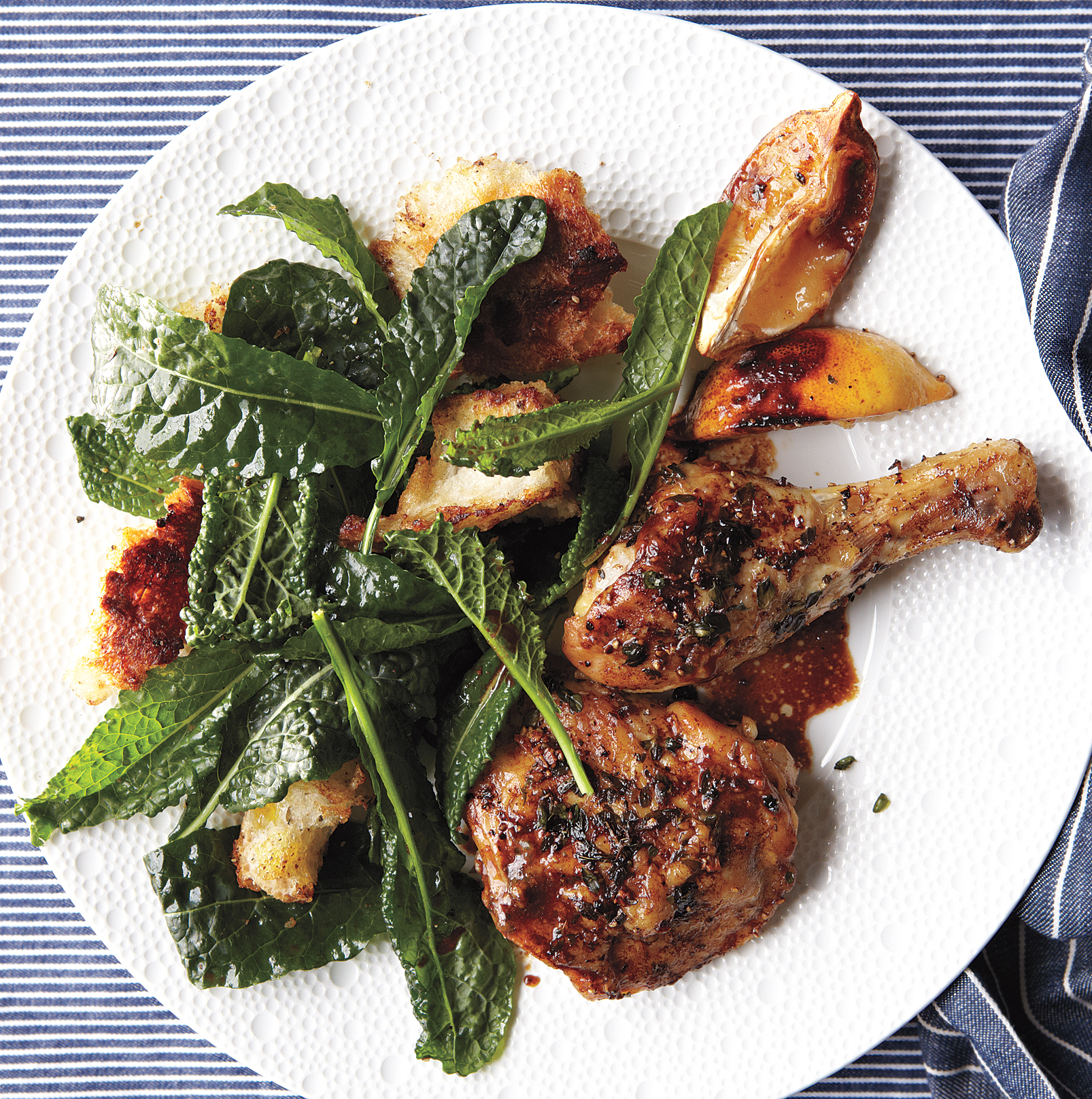 Herb-Crusted Chicken With Kale and Pan-Dripping Croutons, one of our healthy dinner ideas.