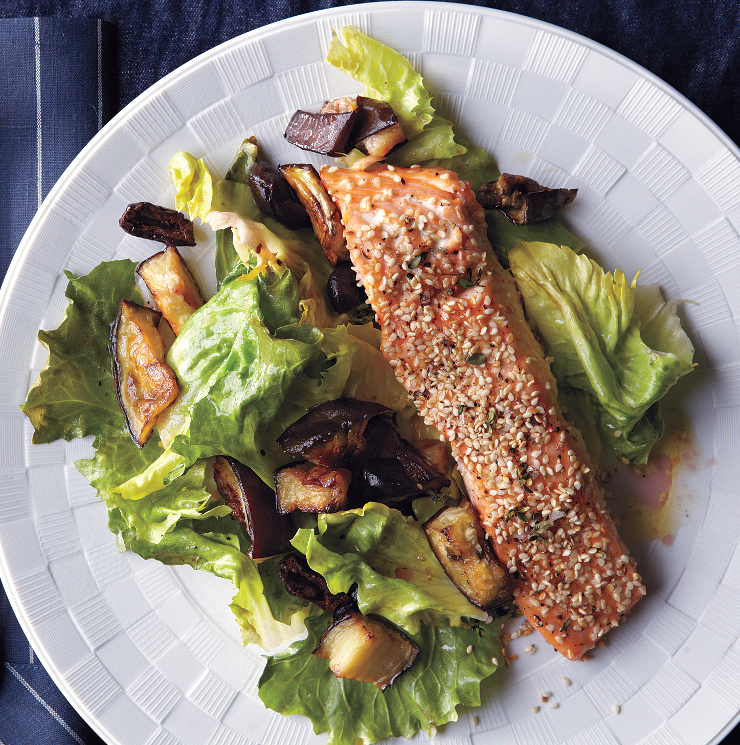 Roasted Salmon and Eggplant With Wilted Escarole