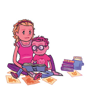 Illo: Mother reading to child