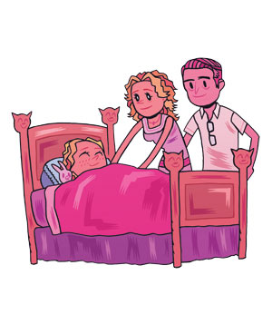 Illo: parents tucking child in to bed
