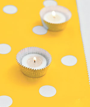 Tealight candles in cupcake foils