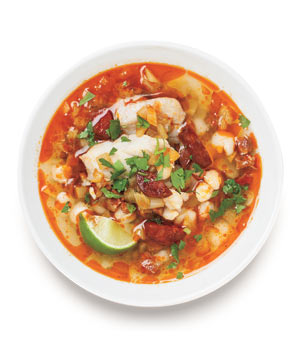 Smoky Bass, Fennel, and Chorizo Soup