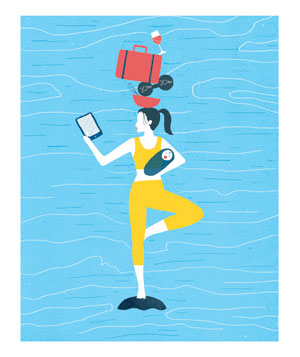Illo: woman balancing many things