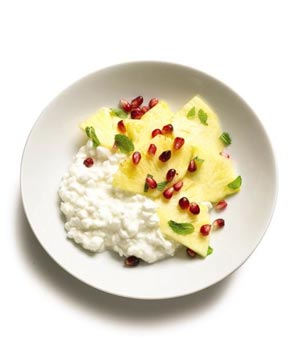 Cottage Cheese With Minted Pineapple