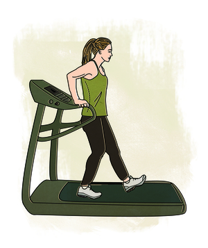 Illo: woman backwards on treadmill