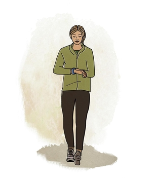 Illo: woman checking pedometer