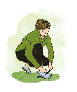 Illo: woman tying shoes