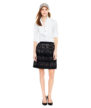 J.Crew Floral Lace Stripe Skirt