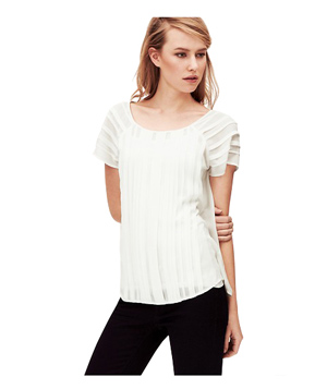 Loft Pleated Short Sleeve Top