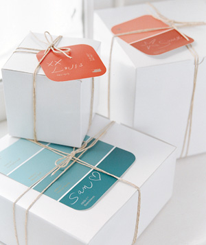 Creative gift wrapping ideas real simple paint samples as gift tags negle Image collections