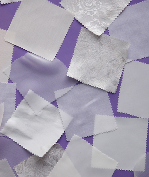 Swatches of wedding dress fabrics