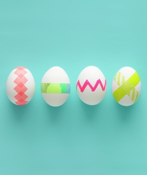 Easter eggs with neon tape