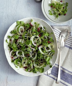 Crispy Pomegranate, Watercress, and Fennel Salad