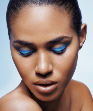 Model with colorful cat-eye makeup