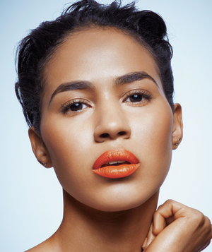 Model with orange lipstick