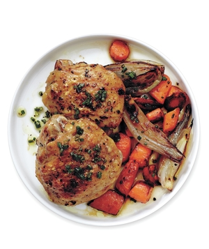 Roasted Chicken, Carrots, and Shallots