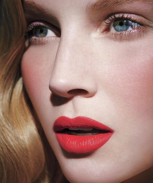 Model with red lipstick