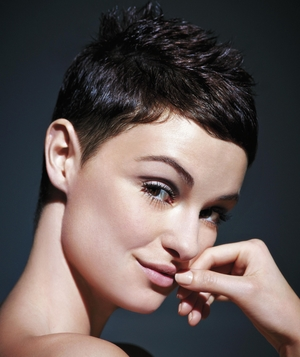 Model with pixie haircut