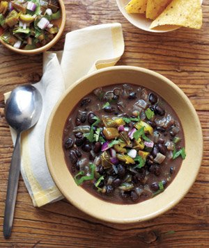 Black Bean Soup With Roasted Jalapeno Salsa