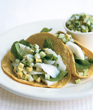Fish Tacos With Green Apple Guacamole