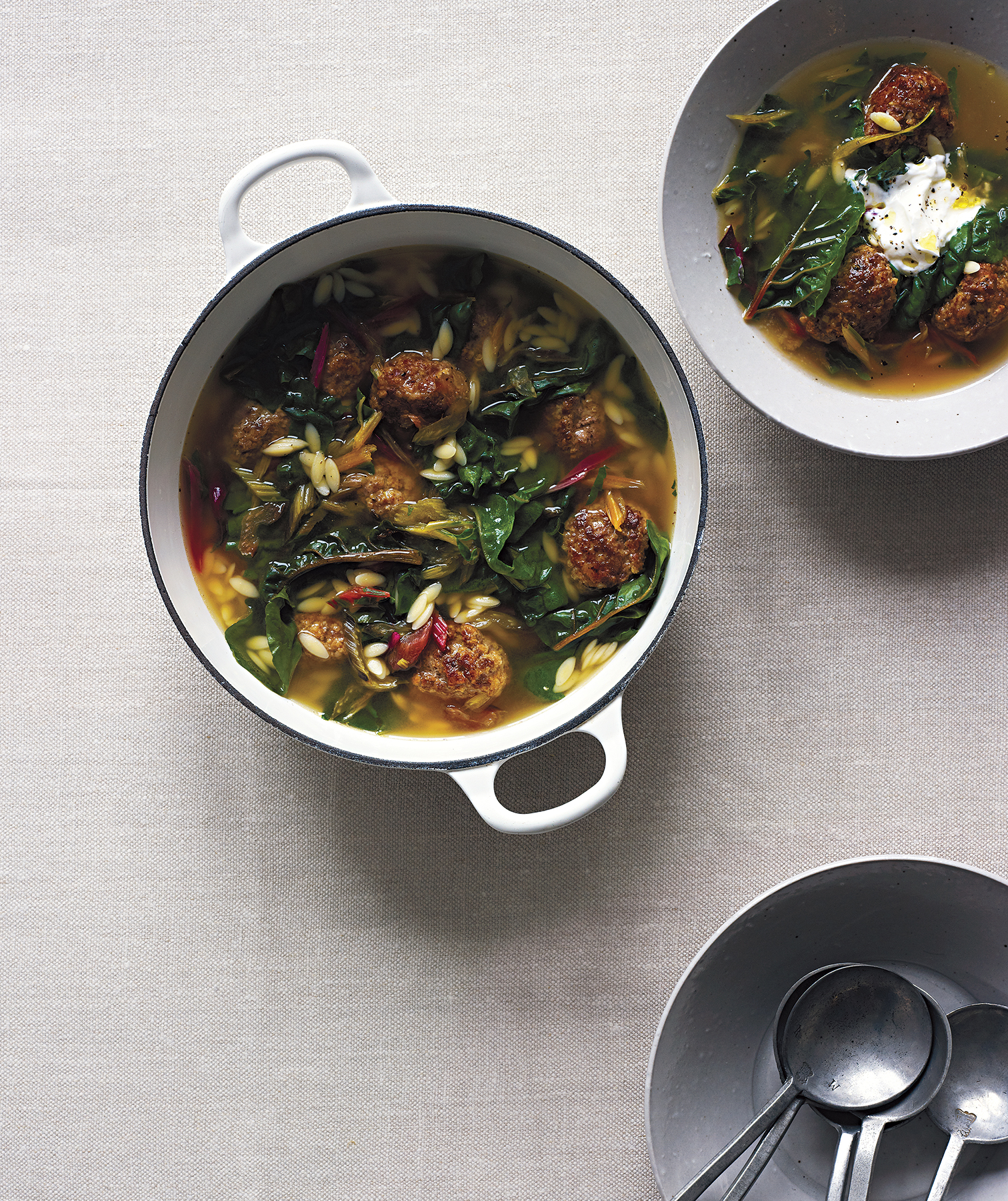 Spiced Lamb Meatball and Swiss Chard Stew