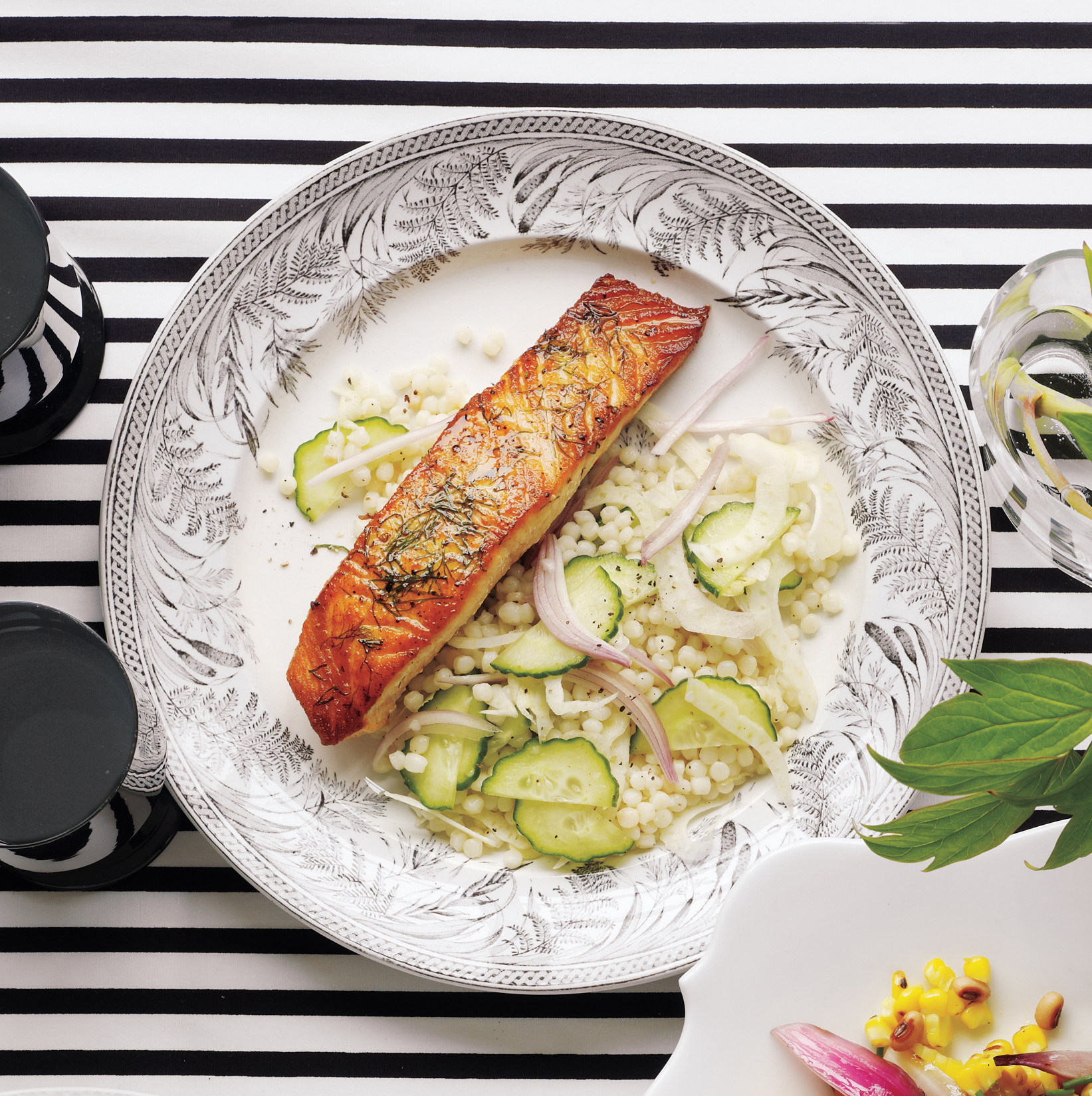Seared Salmon With Israeli Couscous Salad