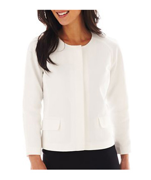 Liz Claiborne Textured Cotton Long-Sleeve Jacket