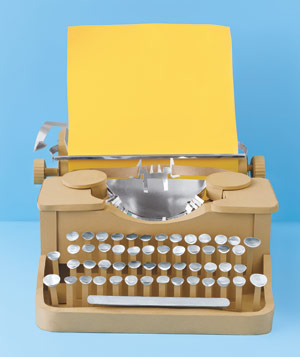 Paper construction of typewriter by Matthew Sporzynski