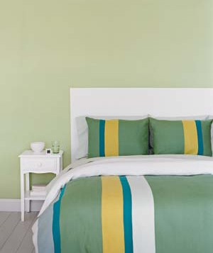 Bed with wall painted to look like a headboard